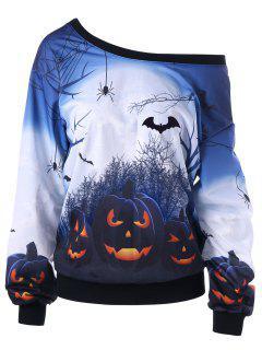 Halloween Plus Size Skew Neck Pumpkin Print Sweatshirt - White 2xl