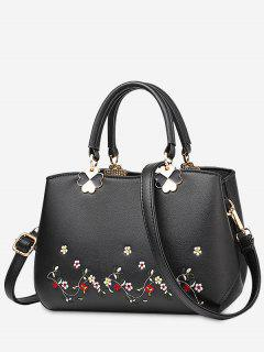 Embroidery Metal Flower Tote Bag - Black