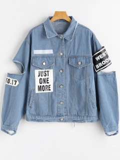Letter Patched Cut Out Ripped Denim Jacket - Denim Blue M