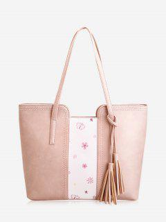 Tassel Butterfly Flower Print Shoulder Bag - Pink