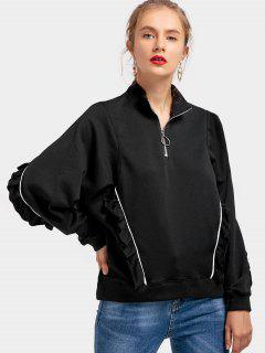 Half Zip Ruffle Hem Sweatshirt - Black L