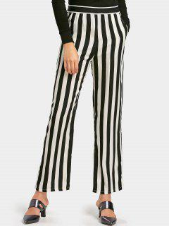 Striped High Waist Pants With Pockets - Stripe S