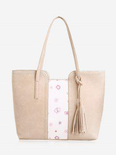 Tassel Butterfly Flower Print Shoulder Bag - Beige
