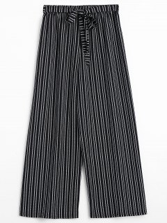 Striped Wide Leg Belted Pants - Stripe