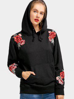 Front Pocket Flower Patched Drawstring Hoodie - Black M