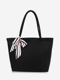 Bow Scallop Shoulder Bag - Black