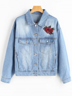 Embroidered Patch Button Up Denim Jacket - Blue S