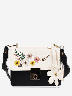 Flower Embroidery Crossbody Bag - Black