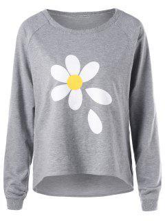 Sweat-shirt à Motif Fleur à Manches Raglan - Gris Xl