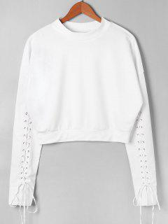 Pullover Lace Up Long Sleeve Sweatshirt - White M
