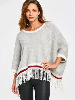 Fringed Batwing Sleeve Sweater - Light Gray