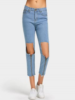 Zipper Embellished Cut Out Frayed Jeans - Light Blue S