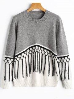 Crew Neck Fringe Two Tone Sweater - Grey And White