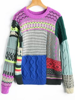 Crew Neck Chunky Patchwork Sweater