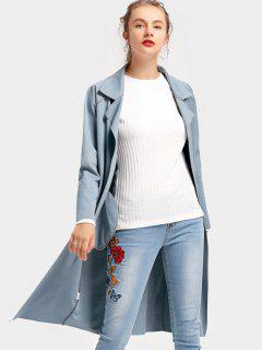 Open Front Lapel Coat With Side Pockets - Blue Gray Xl
