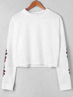 Long Sleeve Floral Embroidered Pullover Sweatshirt - White Xl