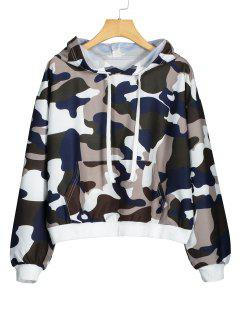 Pocket Oversized Camouflage Hoodie - Multicolor Xl