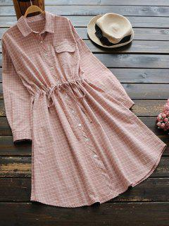 Button Up Striped Pocket Shirt Dress - Light Pink