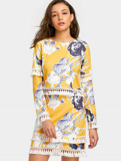 Tassels Embellished Floral Top And Skirt Set - Yellow M
