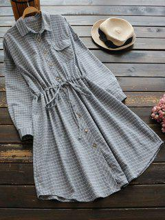 Gestreiftes Kleid Mit Knopf Und Taschen - Grau