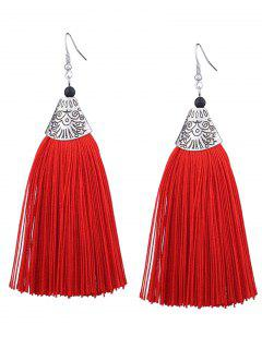 Tassel Engraved Funny Pattern Hook Earrings - Red