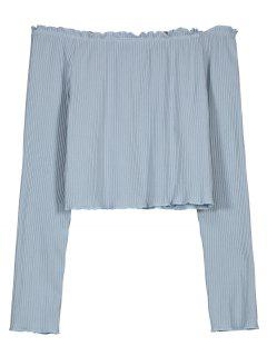 Ruffled Knitted Off Shoulder Top - Stone Blue L