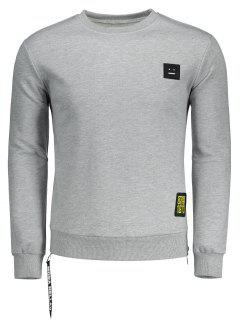 Side Zipper Patch Design Sweatshirt - Grau L