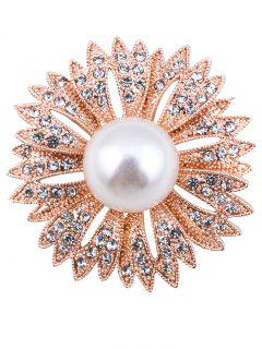 Sparkly Rhinestone Faux Pearl Floral Brooch - Golden