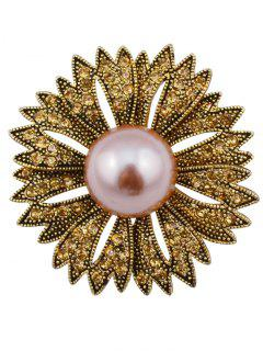 Sparkly Rhinestone Faux Pearl Floral Brooch - Bronzed