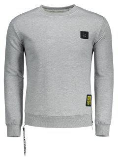 Side Zipper Patch Design Sweatshirt - Gray M