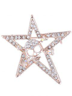Rhinestone Halloween Skull Star Alloy Brooch - Golden