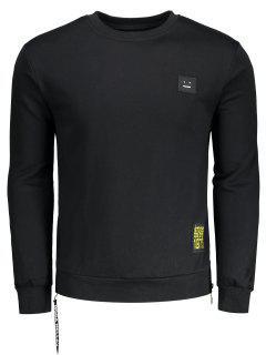Side Zipper Patch Design Sweatshirt - Black L