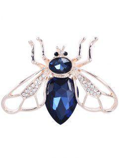 Faux Gem Cicada Shape Alloy Brooch - Blue