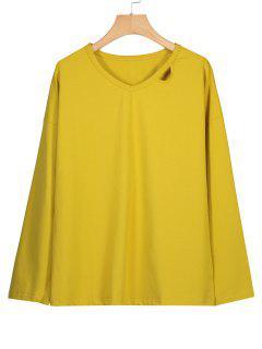 Oversized V Neck Cut Out Sweatshirt - Yellow