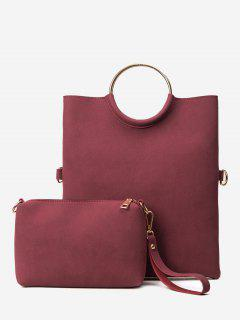 Fold Over 2 Pieces Handbag Set - Purplish Red