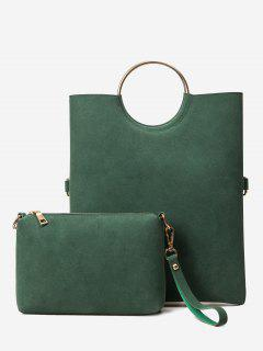 Fold Over 2 Pieces Handbag Set - Blackish Green