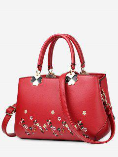 Embroidery Metal Flower Tote Bag - Red