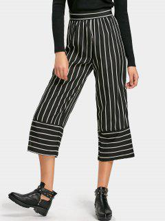 Striped High Waist Capri Pants - Stripe L