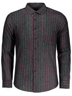 Gestreiftes Taschenhemd - Grau 2xl