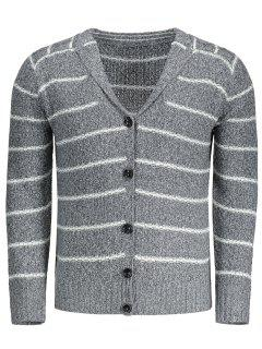 Shawl Collar Striped Cardigan - Gris M