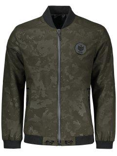 Zippered Camo Bomber Jacket - Army Green 2xl