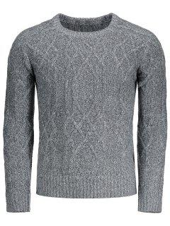 Textured Heathered Sweater - Gray L