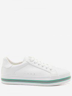 Faux Leather Color Block Skate Shoes - White And Green 39