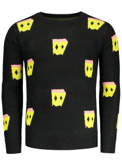 Crew Neck Patterned Sweater - Black L