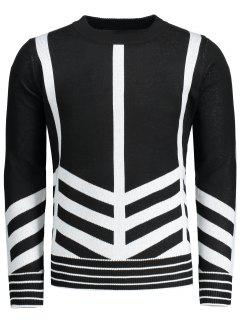 Crew Neck Geometric Patterned Sweater - Black L