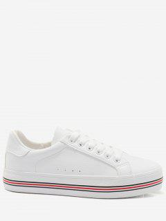Faux Leather Color Block Skate Shoes - Red With White 36