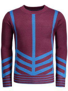 Crew Neck Geometric Patterned Sweater - Dark Red L