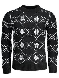 Mock Neck Snowflake Patterned Sweater - Black 2xl