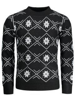 Mock Neck Snowflake Patterned Pullover - Schwarz L