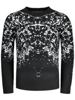 Patterned Crew Neck Sweater - Black 3xl